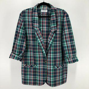 Vintage 90's Plaid Blazer Jacket 16